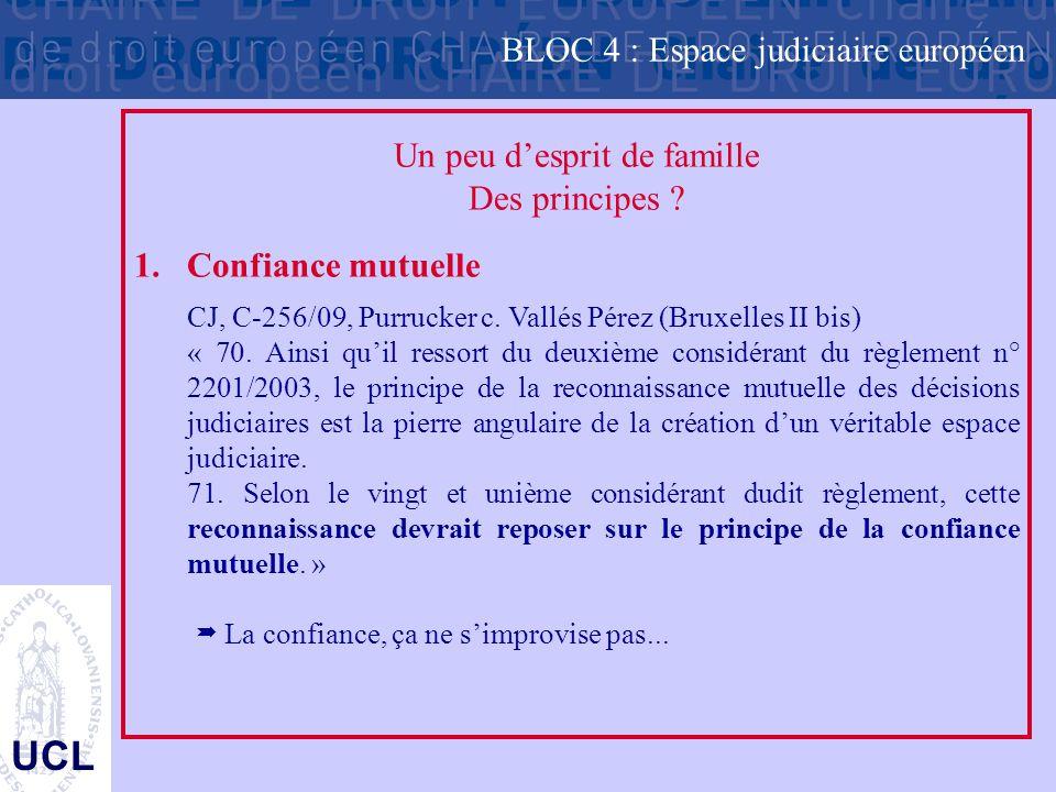 UCL Un peu d'esprit de famille Des principes ? 1.Confiance mutuelle CJ, C-256/09, Purrucker c. Vallés Pérez (Bruxelles II bis) « 70. Ainsi qu'il resso