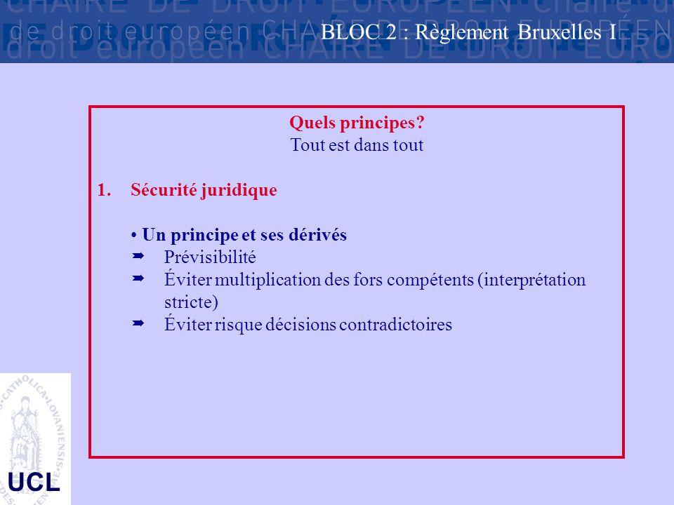 UCL Quels principes? Tout est dans tout 1.Sécurité juridique Un principe et ses dérivés  Prévisibilité  Éviter multiplication des fors compétents (i