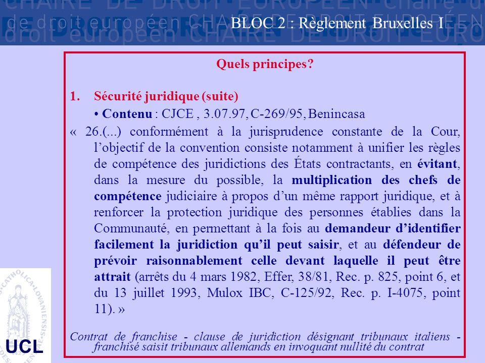 UCL Quels principes? 1.Sécurité juridique (suite) Contenu : CJCE, 3.07.97, C-269/95, Benincasa « 26.(...) conformément à la jurisprudence constante de