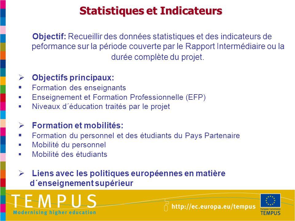 Statistiques et Indicateurs Objectif: Recueillir des données statistiques et des indicateurs de peformance sur la période couverte par le Rapport Intermédiaire ou la durée complète du projet.