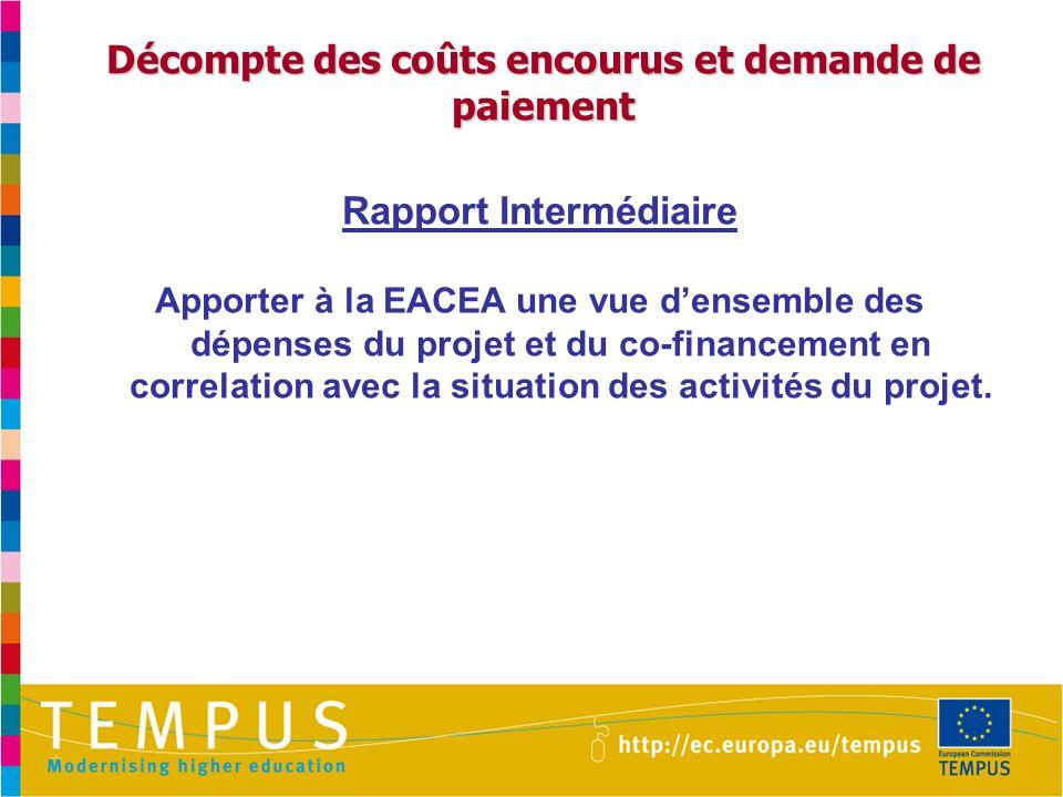 Décompte des coûts encourus et demande de paiement Rapport Intermédiaire Apporter à la EACEA une vue d'ensemble des dépenses du projet et du co-financement en correlation avec la situation des activités du projet.