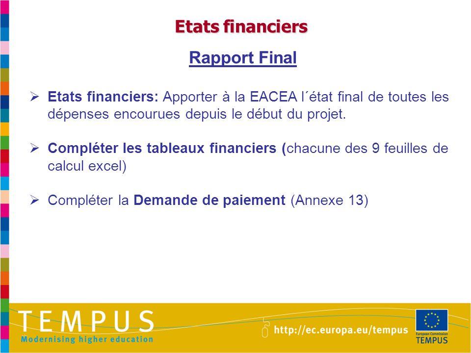 Etats financiers Rapport Final  Etats financiers: Apporter à la EACEA l´état final de toutes les dépenses encourues depuis le début du projet.