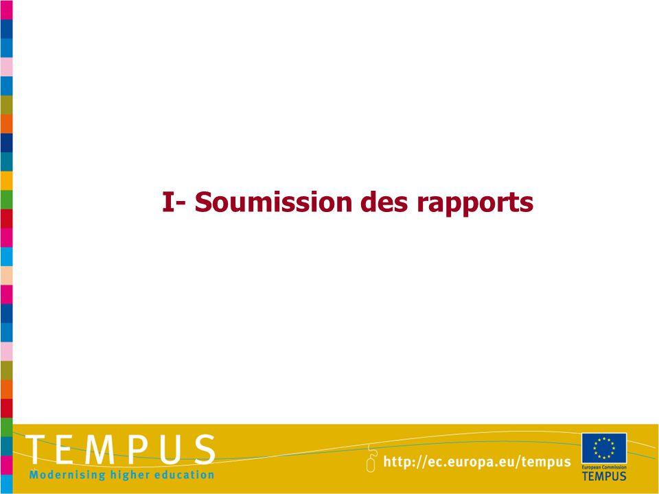 I- Soumission des rapports