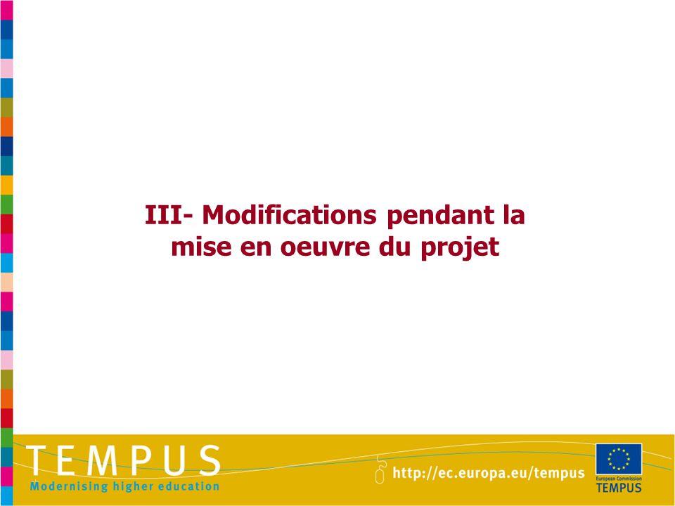 III- Modifications pendant la mise en oeuvre du projet