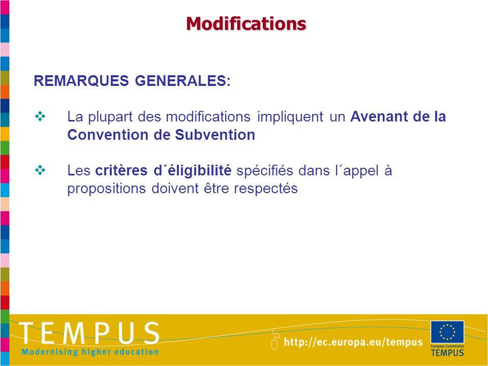 Modifications REMARQUES GENERALES:  La plupart des modifications impliquent un Avenant de la Convention de Subvention  Les critères d´éligibilité spécifiés dans l´appel à propositions doivent être respectés