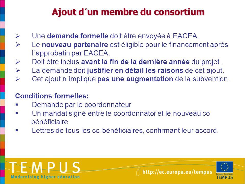 Ajout d´un membre du consortium Ajout d´un membre du consortium  Une demande formelle doit être envoyée à EACEA.