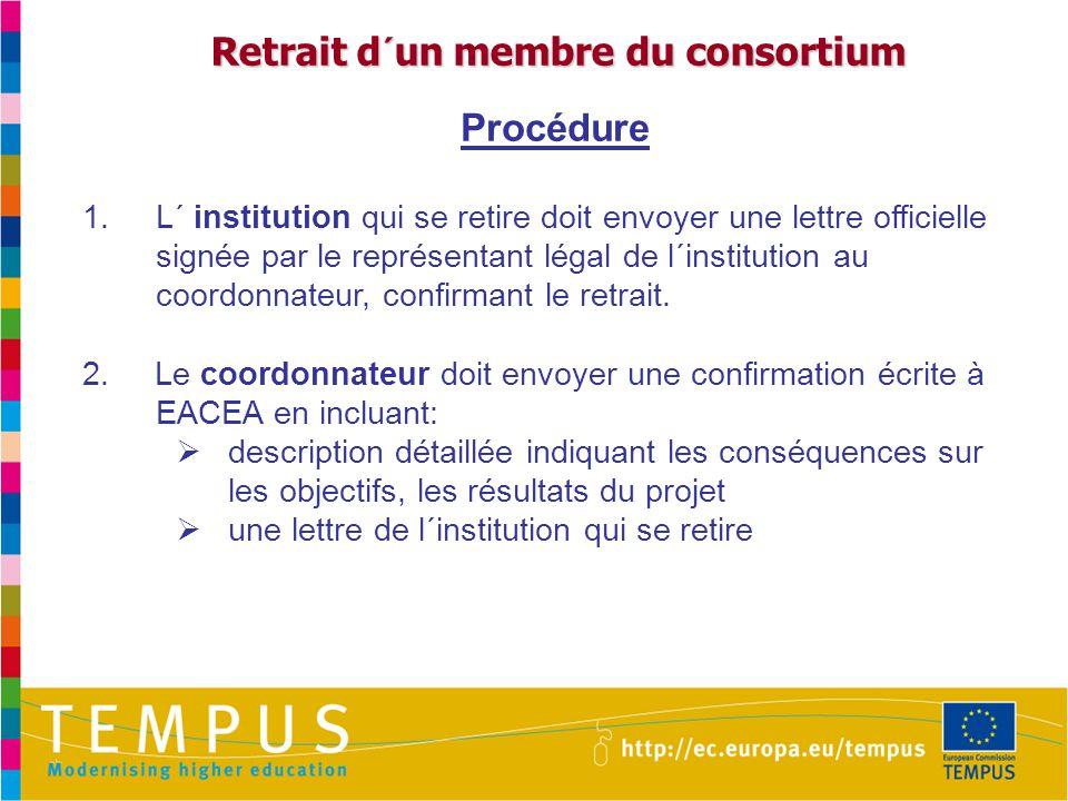 Retrait d´un membre du consortium Retrait d´un membre du consortium Procédure 1.L´ institution qui se retire doit envoyer une lettre officielle signée par le représentant légal de l´institution au coordonnateur, confirmant le retrait.