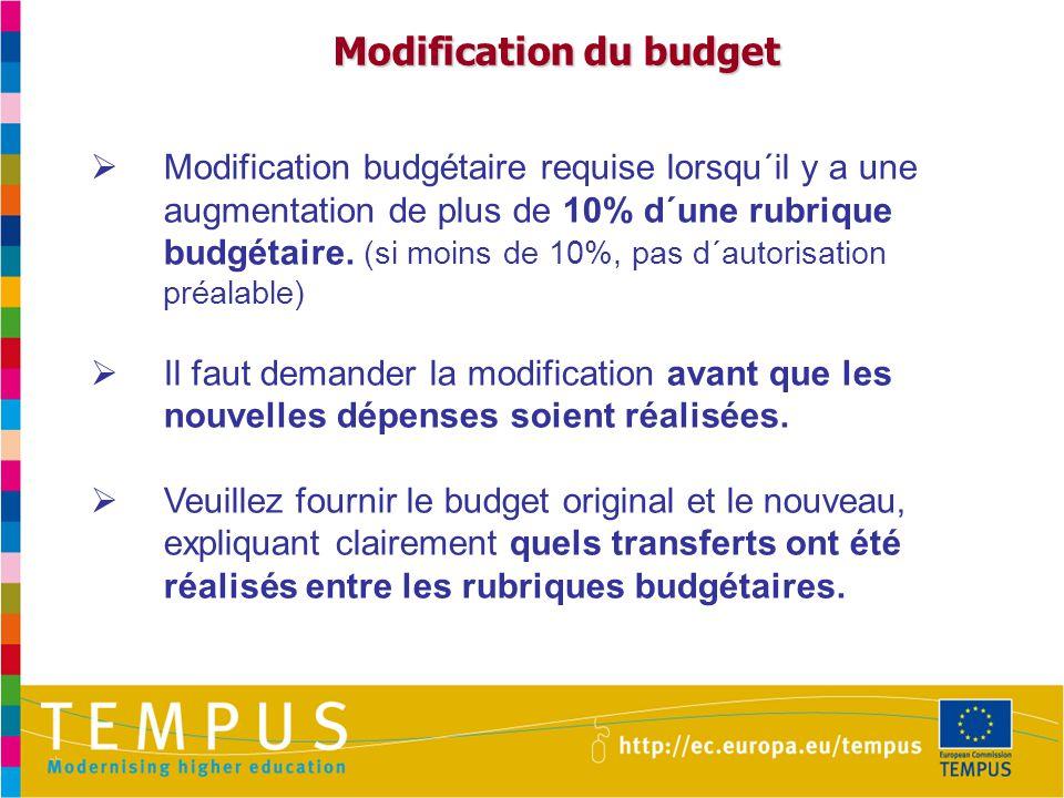 Modification du budget Modification du budget  Modification budgétaire requise lorsqu´il y a une augmentation de plus de 10% d´une rubrique budgétaire.