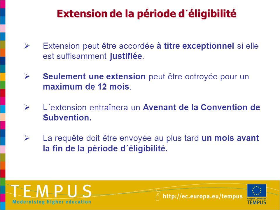 Extension de la période d´éligibilité Extension de la période d´éligibilité  Extension peut être accordée à titre exceptionnel si elle est suffisamment justifiée.