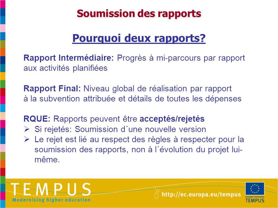 Soumission des rapports Pourquoi deux rapports.