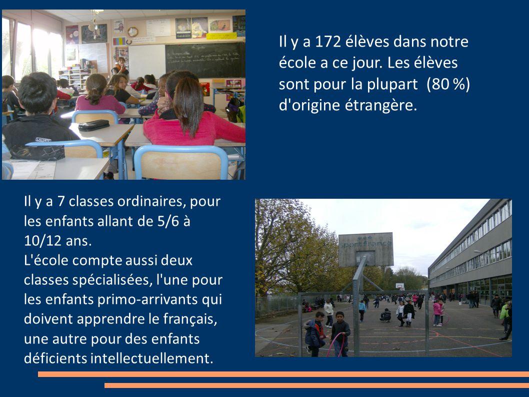 Il y a 172 élèves dans notre école a ce jour.