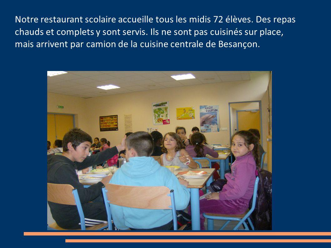 Notre restaurant scolaire accueille tous les midis 72 élèves.