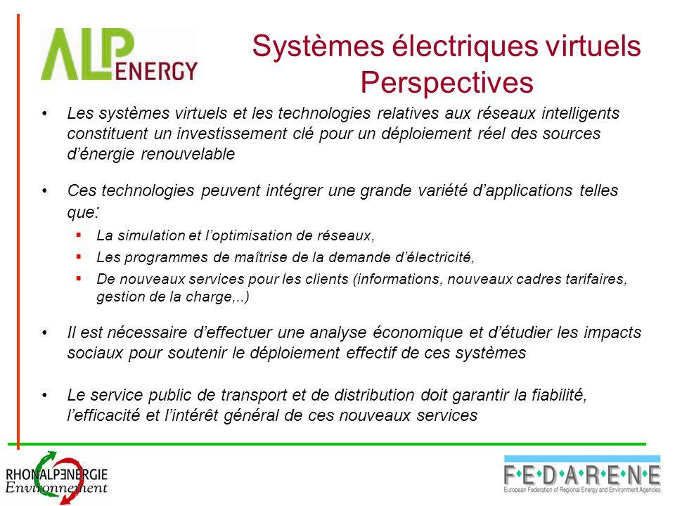 Systèmes électriques virtuels Perspectives Les systèmes virtuels et les technologies relatives aux réseaux intelligents constituent un investissement