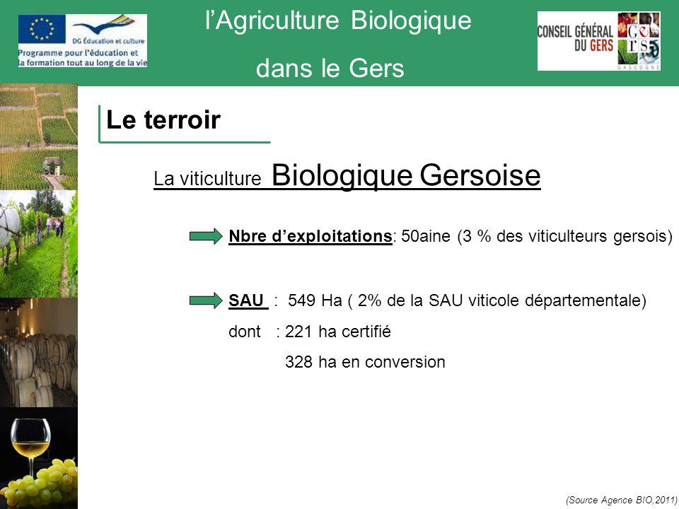 l'Agriculture Biologique dans le Gers Le terroir La viticulture Biologique Gersoise (Source Agence BIO,2011) SAU : 549 Ha ( 2% de la SAU viticole dépa