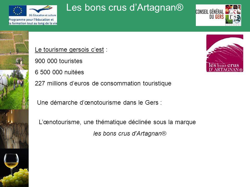Les bons crus d'Artagnan® Une démarche d'œnotourisme dans le Gers : Le tourisme gersois c'est : 900 000 touristes 6 500 000 nuitées 227 millions d'eur