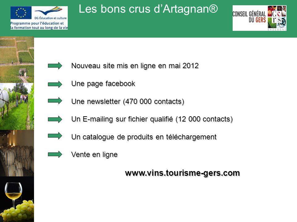 Les bons crus d'Artagnan® Nouveau site mis en ligne en mai 2012 Une page facebook Une newsletter (470 000 contacts) Un E-mailing sur fichier qualifié