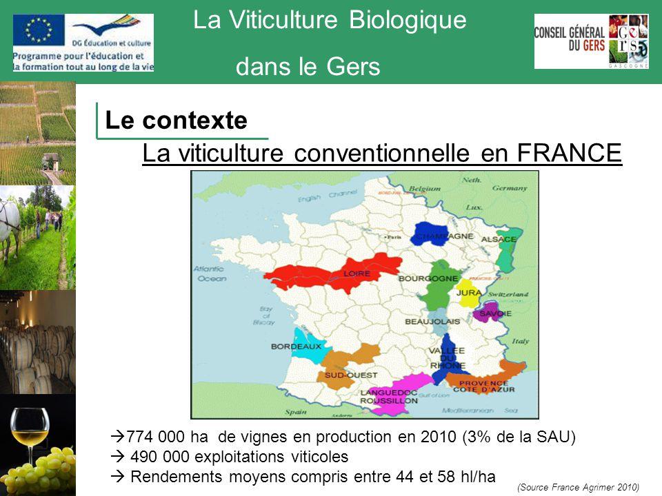 La Viticulture Biologique dans le Gers La viticulture biologique en France Evolution en 10 ans : Exploitations : + 146 % Surfaces : + 171 % Source Agence Bio Le contexte