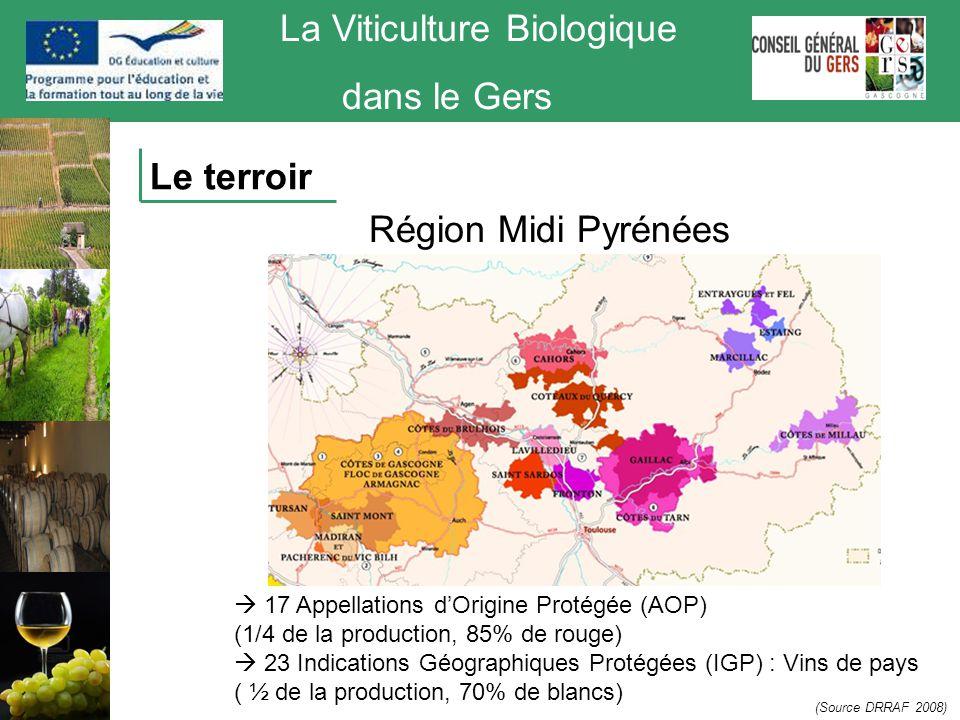 La Viticulture Biologique dans le Gers (Source DRRAF 2008) Région Midi Pyrénées  17 Appellations d'Origine Protégée (AOP) (1/4 de la production, 85%