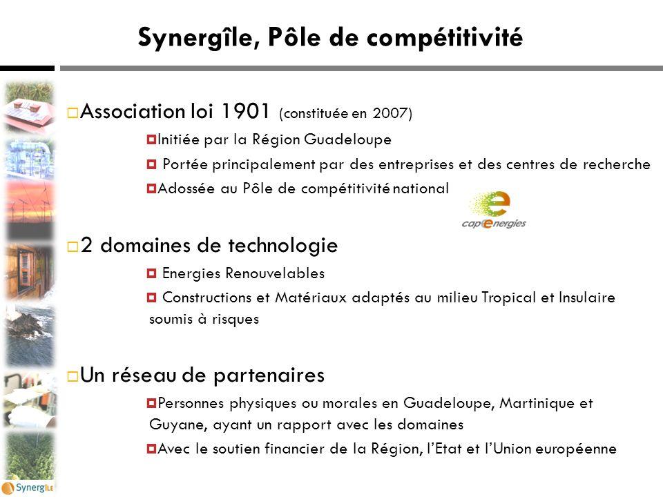 Synergîle, Pôle de compétitivité  Association loi 1901 (constituée en 2007)  Initiée par la Région Guadeloupe  Portée principalement par des entrep