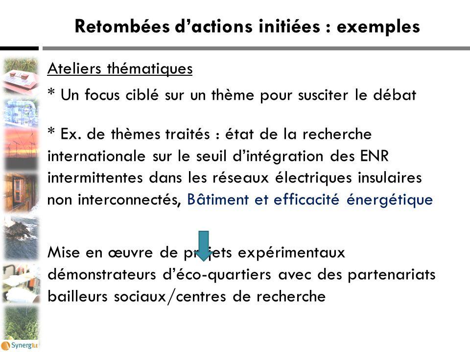 Retombées d'actions initiées : exemples Ateliers thématiques * Un focus ciblé sur un thème pour susciter le débat * Ex. de thèmes traités : état de la