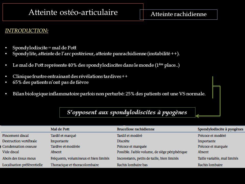 Atteinte ostéo-articulaire Atteinte rachidienne INTRODUCTION: Spondylodiscite = mal de Pott Spondylite, atteinte de l'arc postérieur, atteinte panrach