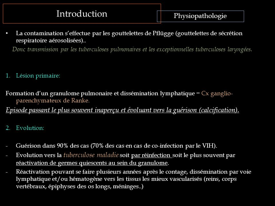 Introduction La contamination s'effectue par les gouttelettes de Pflügge (gouttelettes de sécrétion respiratoire aérosolisées).. Donc transmission par