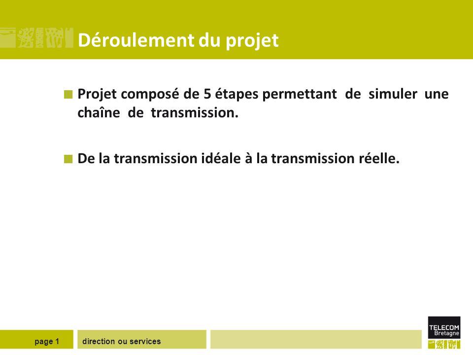direction ou servicespage 1 Déroulement du projet Projet composé de 5 étapes permettant de simuler une chaîne de transmission. De la transmission idéa