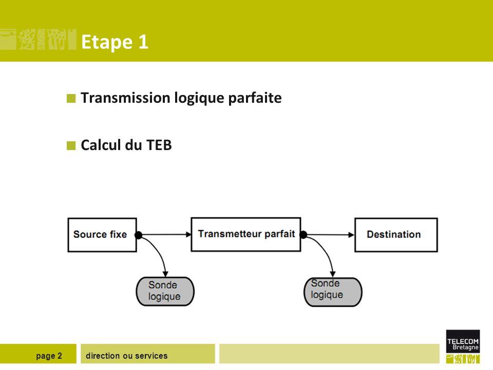 direction ou servicespage 2 Etape 1 Transmission logique parfaite Calcul du TEB