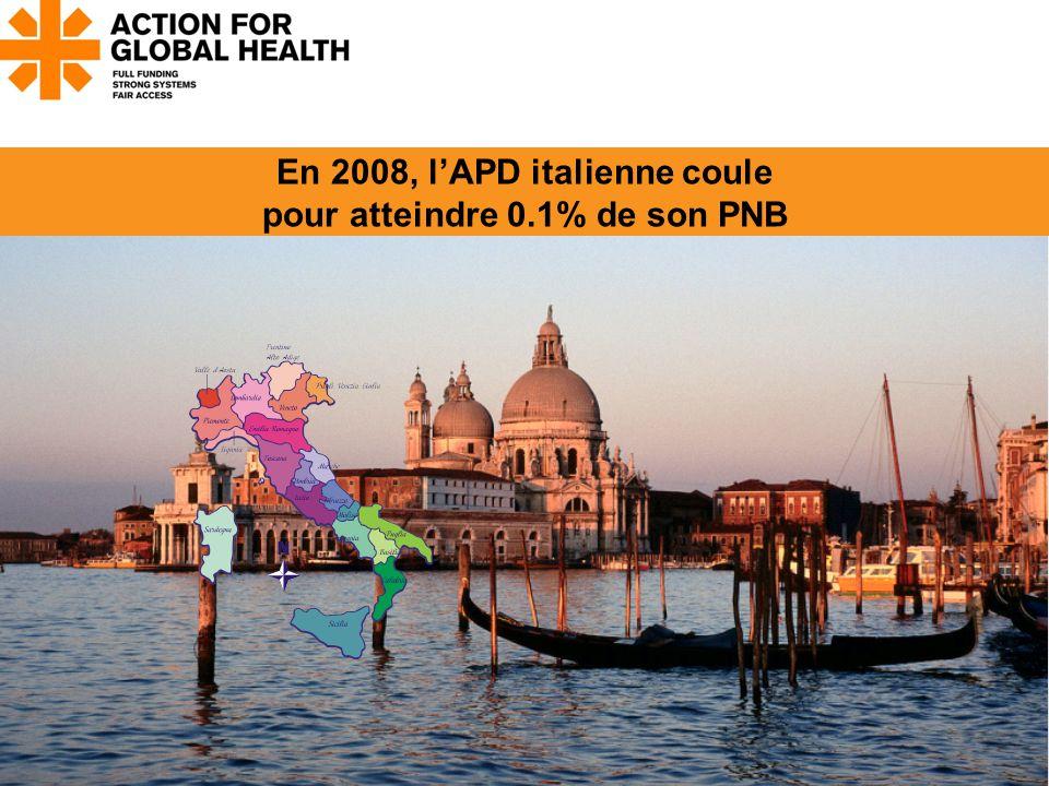 En 2008, l'APD italienne coule pour atteindre 0.1% de son PNB www.actionforglobalhealth.eu