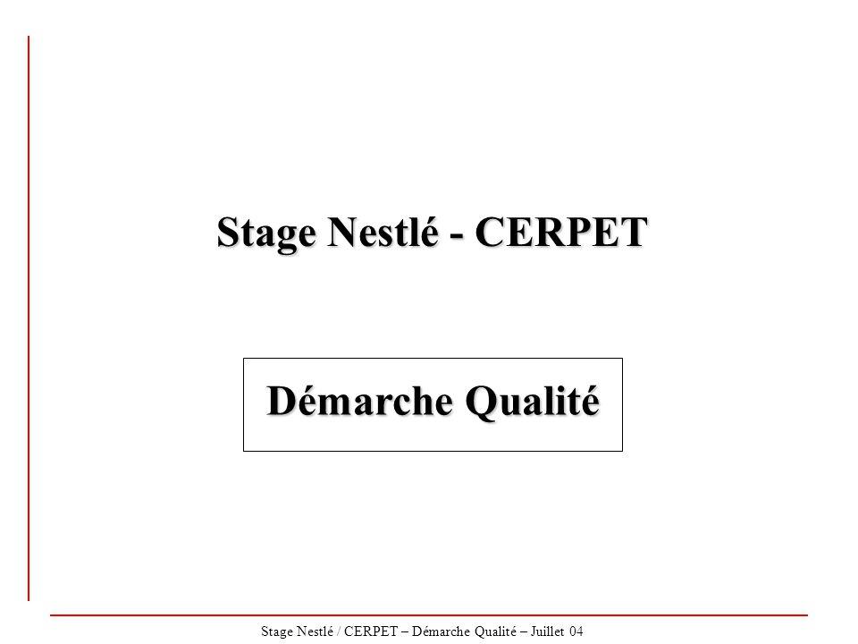 Stage Nestlé / CERPET – Démarche Qualité – Juillet 04 Stage Nestlé - CERPET Démarche Qualité