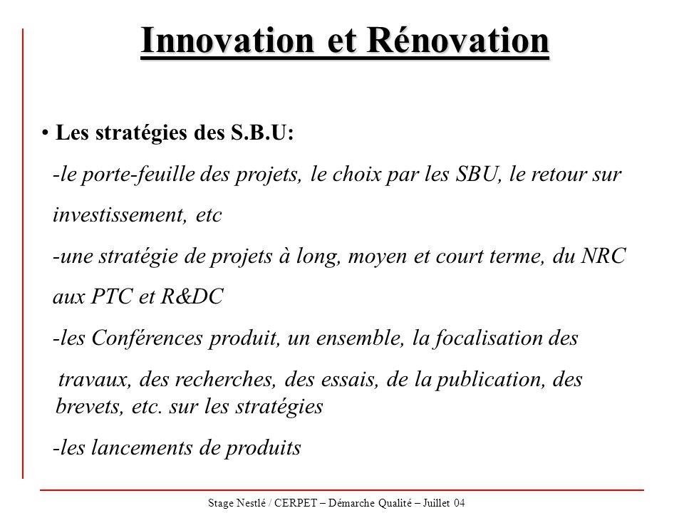Stage Nestlé / CERPET – Démarche Qualité – Juillet 04 Innovation et Rénovation Les stratégies des S.B.U: -le porte-feuille des projets, le choix par l