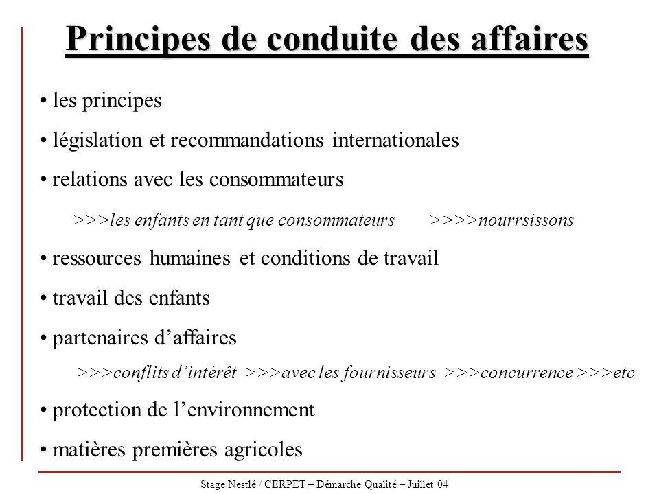 Stage Nestlé / CERPET – Démarche Qualité – Juillet 04 Principes de conduite des affaires les principes législation et recommandations internationales