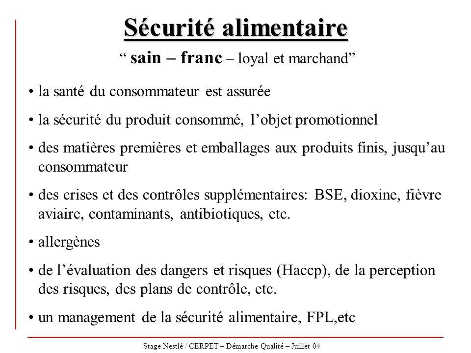 """Stage Nestlé / CERPET – Démarche Qualité – Juillet 04 Sécurité alimentaire """" sain – franc – loyal et marchand"""" la santé du consommateur est assurée la"""