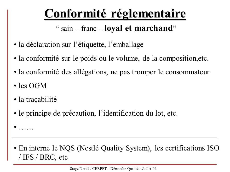 """Stage Nestlé / CERPET – Démarche Qualité – Juillet 04 Conformité réglementaire """" sain – franc – loyal et marchand """" la déclaration sur l'étiquette, l'"""
