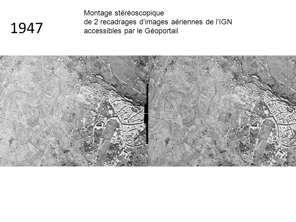 1947 Montage stéréoscopique de 2 recadrages d'images aériennes de l'IGN accessibles par le Géoportail