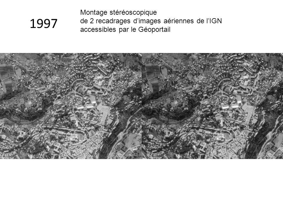 1997 Montage stéréoscopique de 2 recadrages d'images aériennes de l'IGN accessibles par le Géoportail