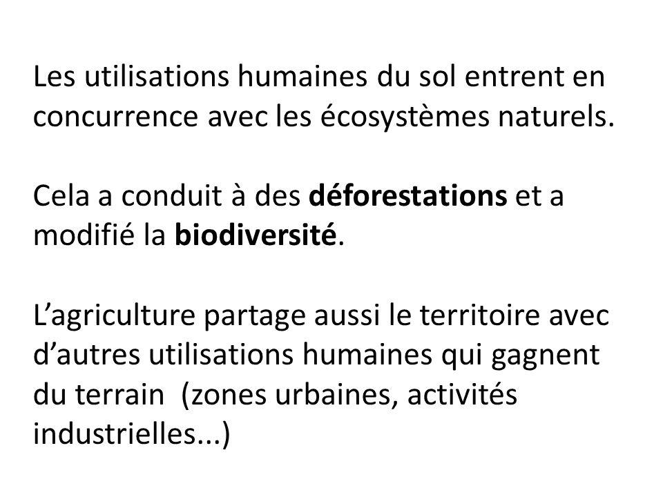 Les utilisations humaines du sol entrent en concurrence avec les écosystèmes naturels. Cela a conduit à des déforestations et a modifié la biodiversit