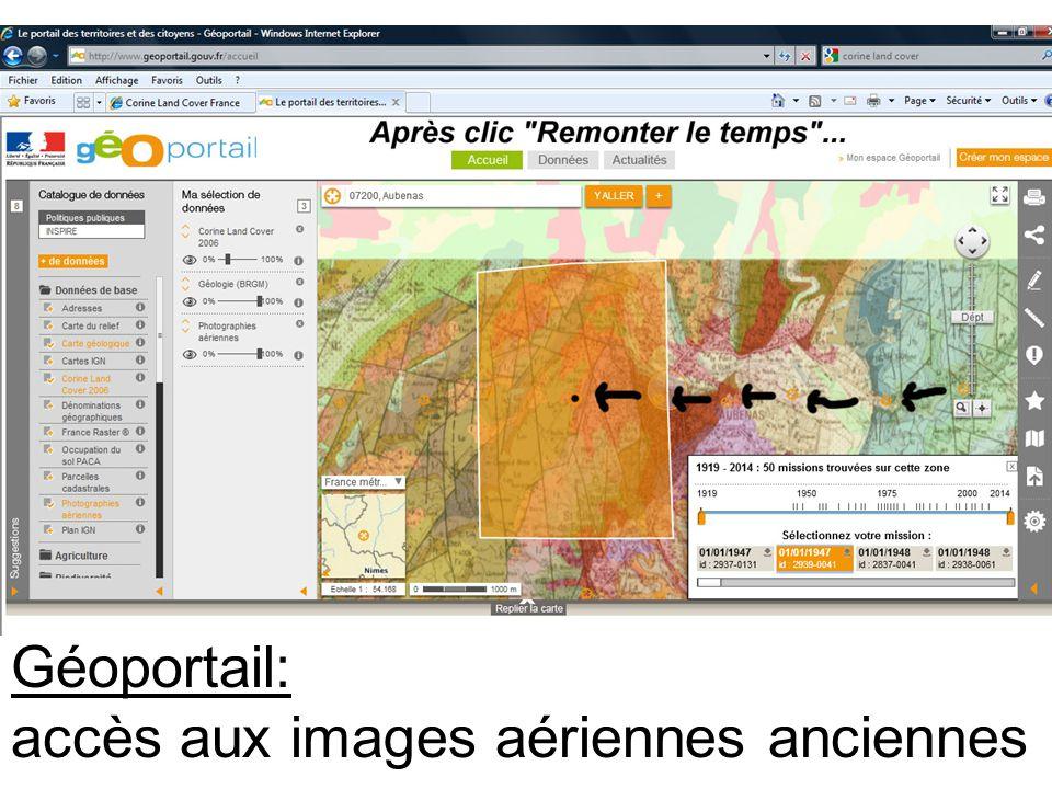 Géoportail: accès aux images aériennes anciennes
