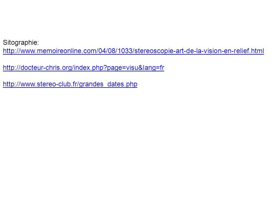 Sitographie: http://www.memoireonline.com/04/08/1033/stereoscopie-art-de-la-vision-en-relief.html http://docteur-chris.org/index.php?page=visu&lang=fr http://www.stereo-club.fr/grandes_dates.php