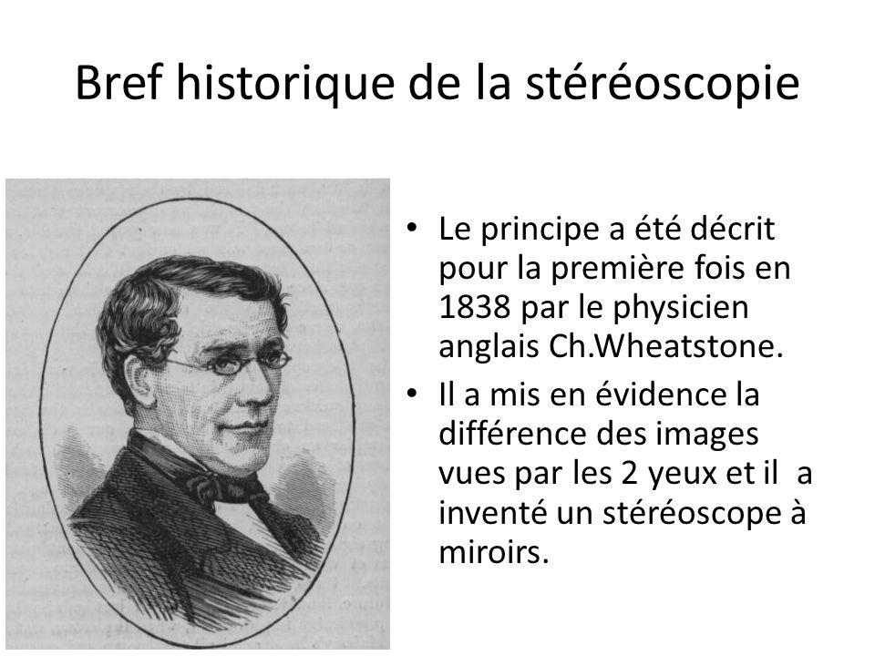 Bref historique de la stéréoscopie Le principe a été décrit pour la première fois en 1838 par le physicien anglais Ch.Wheatstone. Il a mis en évidence