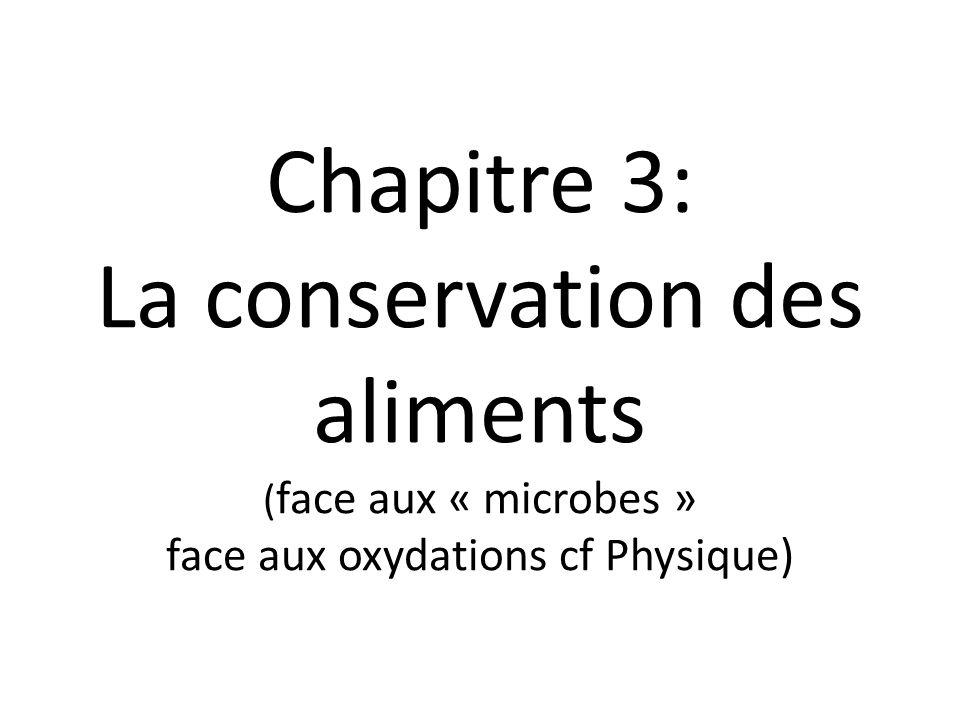 Chapitre 3: La conservation des aliments ( face aux « microbes » face aux oxydations cf Physique)