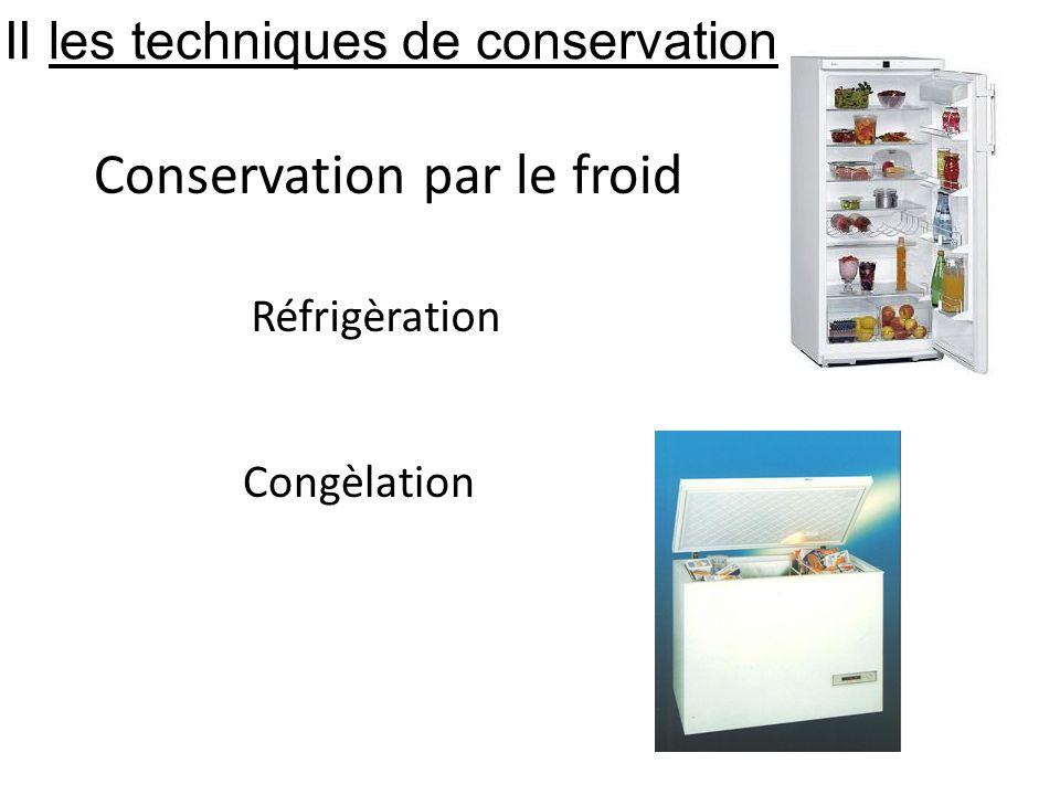 Conservation par le froid Réfrigèration Congèlation II les techniques de conservation