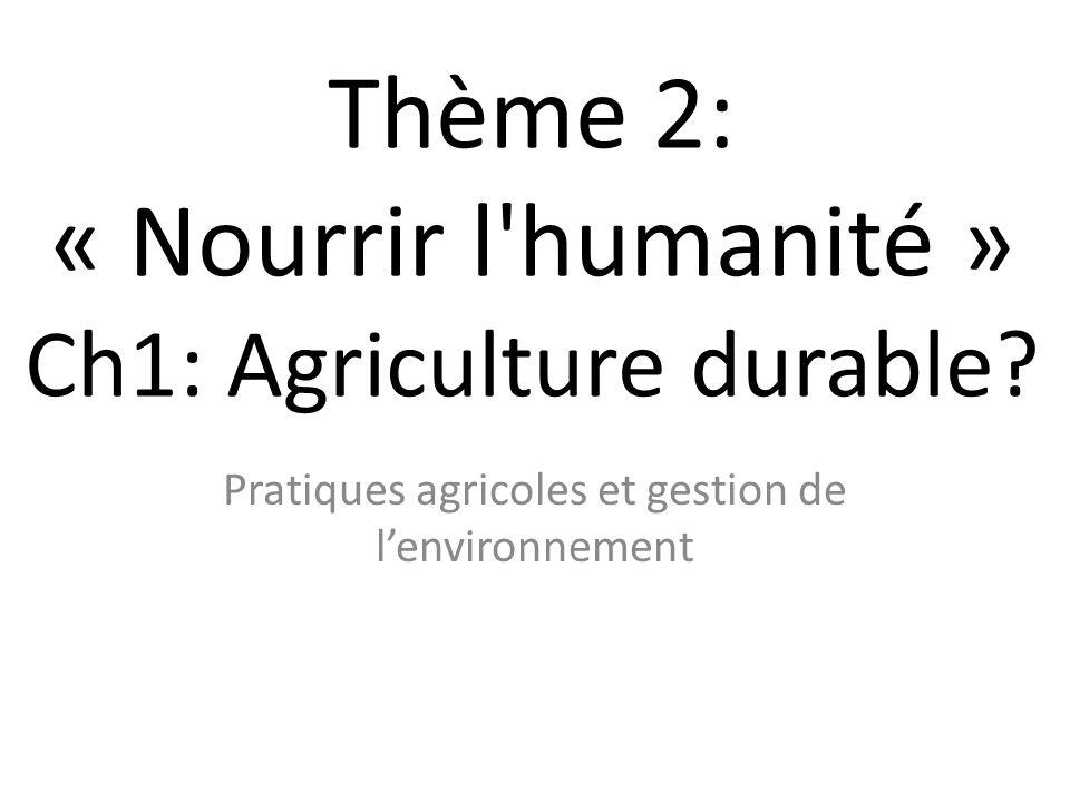 Thème 2: « Nourrir l'humanité » Ch1: Agriculture durable? Pratiques agricoles et gestion de l'environnement