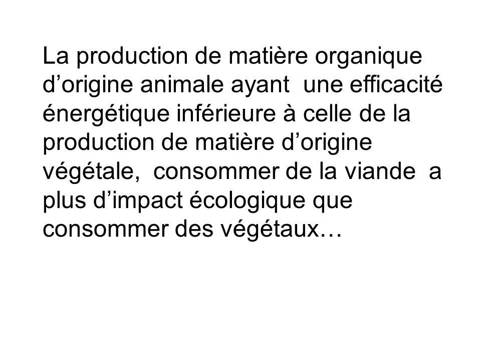 La production de matière organique d'origine animale ayant une efficacité énergétique inférieure à celle de la production de matière d'origine végétal