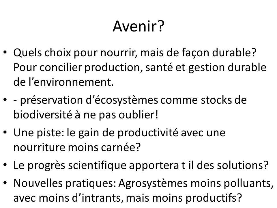 Avenir? Quels choix pour nourrir, mais de façon durable? Pour concilier production, santé et gestion durable de l'environnement. - préservation d'écos