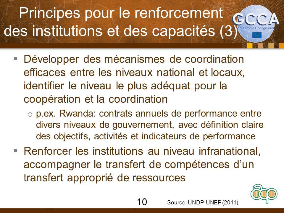  Développer des mécanismes de coordination efficaces entre les niveaux national et locaux, identifier le niveau le plus adéquat pour la coopération et la coordination o p.ex.