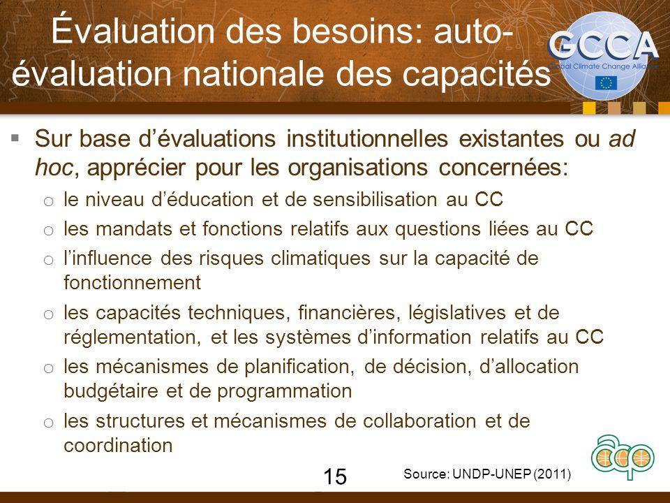 Évaluation des besoins: auto- évaluation nationale des capacités  Sur base d'évaluations institutionnelles existantes ou ad hoc, apprécier pour les o