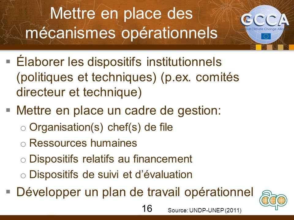 Mettre en place des mécanismes opérationnels  Élaborer les dispositifs institutionnels (politiques et techniques) (p.ex. comités directeur et techniq