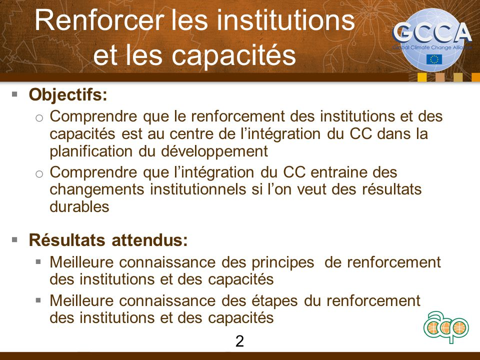 Références  UNDP (2011) Practitioner's Guide: Capacity Development for Environmental Sustainability.