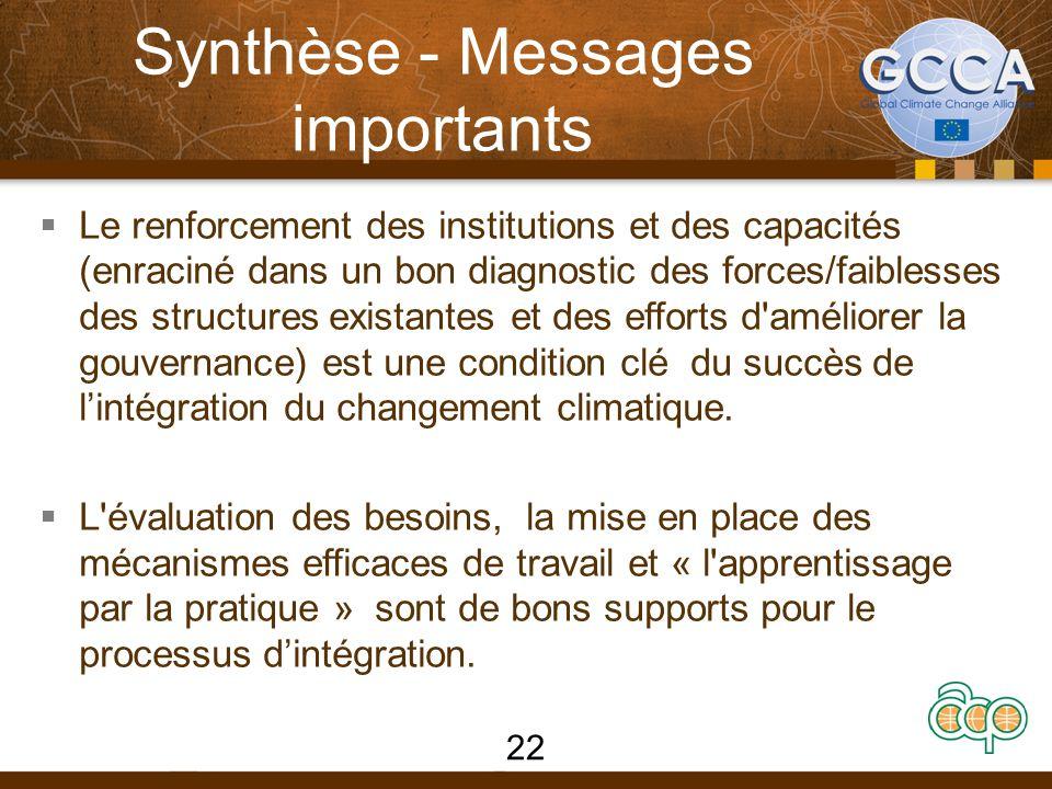 Synthèse - Messages importants  Le renforcement des institutions et des capacités (enraciné dans un bon diagnostic des forces/faiblesses des structures existantes et des efforts d améliorer la gouvernance) est une condition clé du succès de l'intégration du changement climatique.